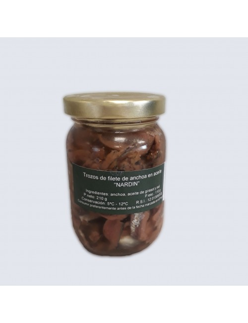 trozos de anchoas del cantábrico, frasco 210g