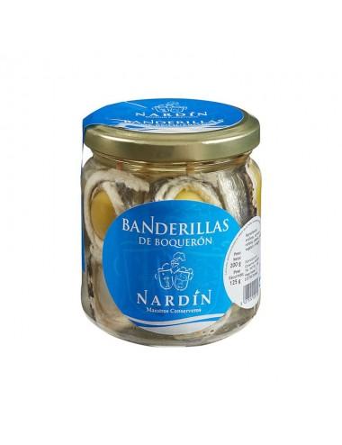banderilla boquerón en vinagre con aceitunas y cebolletas