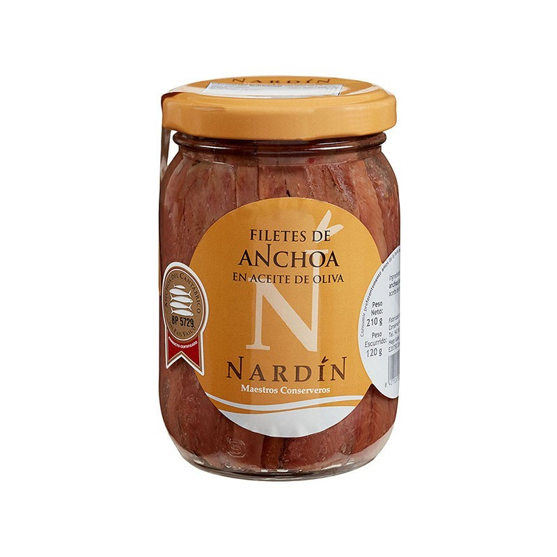 Cantabrian anchovies in olive oil, 210g jar