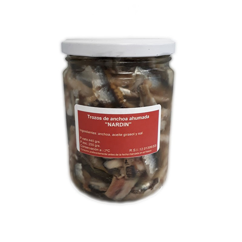 Pieces of smoked anchovy in sunflower oil, 440g jar