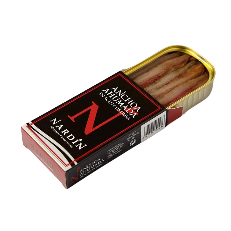 Smoked anchovy in olive oil, 100g can