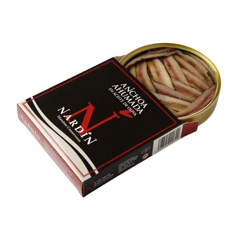 Smoked anchovy in olive oil, 255g can