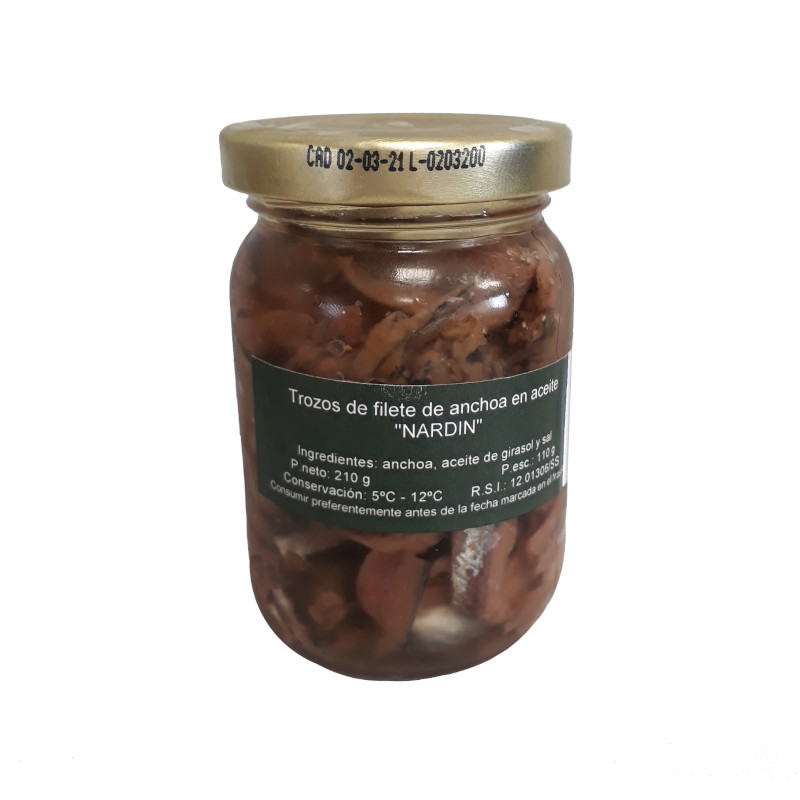 Cantabrian anchovies fillet portions 210g jar
