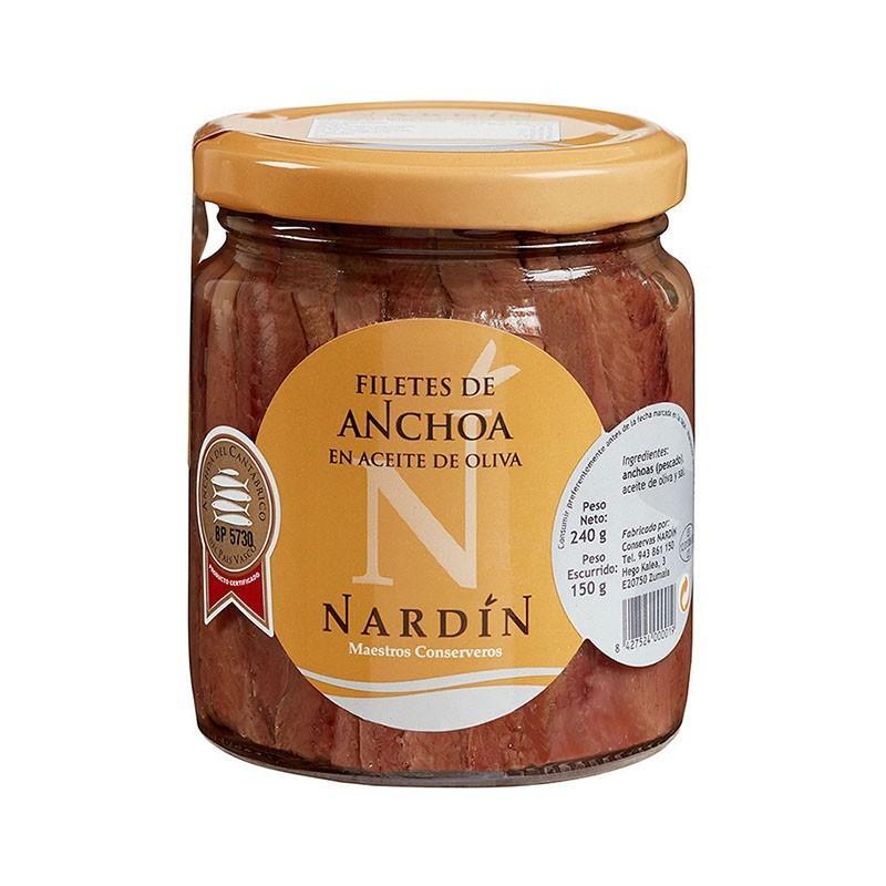 Anchoas del Cantábrico en aceite de oliva, frasco 240g