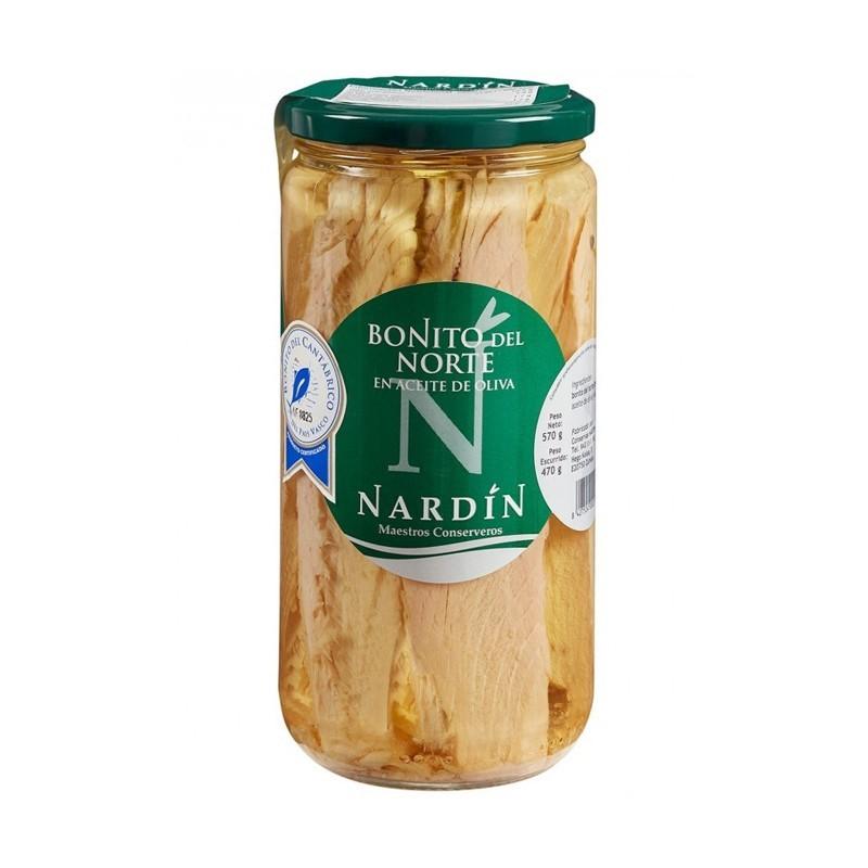 Lomos de bonito del norte en aceite de oliva, frasco 570g