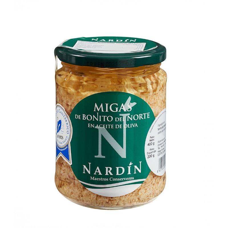 Migas de bonito del norte en aceite de oliva, frasco 400g