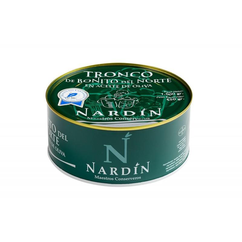 Troncos de bonito del norte en aceite de oliva, lata 1000g