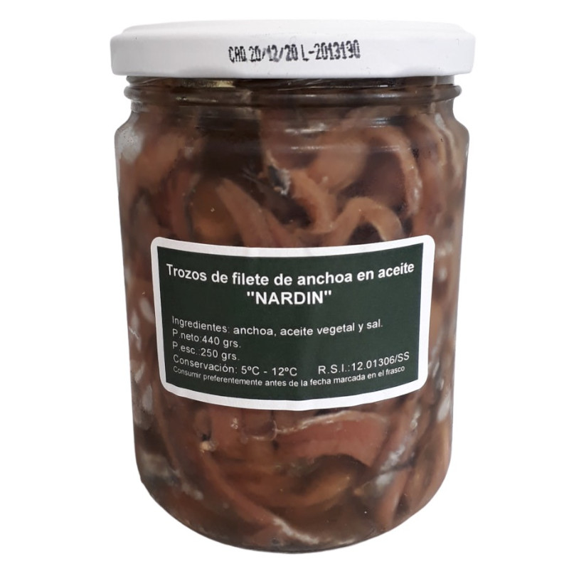 Trozos de filetes de anchoas del Cantábrico frasco 440g