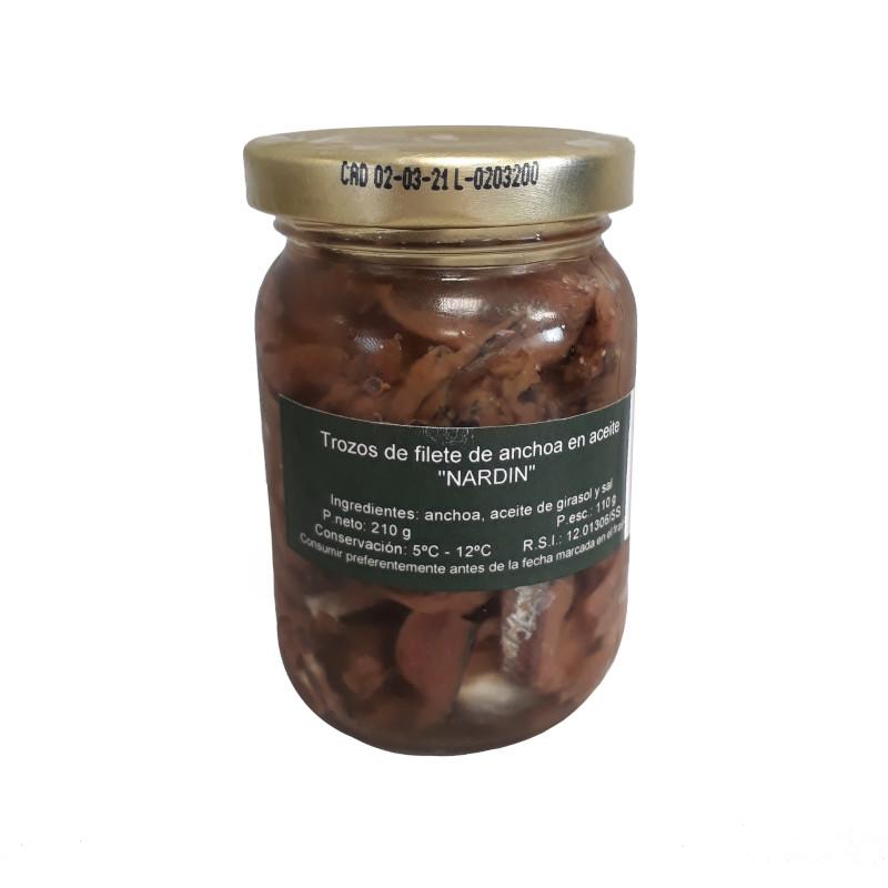 Trozos de filetes de anchoas del Cantábrico frasco 210g