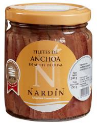 Filetes de anchoa del cantábrico en aceite de oliva, conservas nardín maestros conserveros
